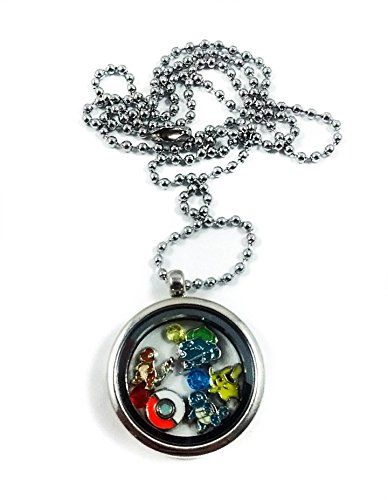 Pokemon Locket Necklace by Living Memory Lockets for Less Pikachu Squirttle Charmander Bulbasaur - Pokemon Jewelry
