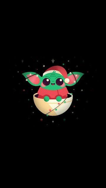 Christmas Baby Yoda in 2020   Yoda wallpaper, Star wars ...