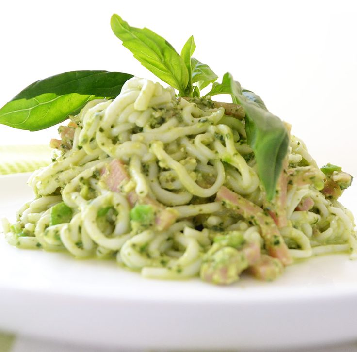 Summer Spaghetti with Pea Pesto & Ham