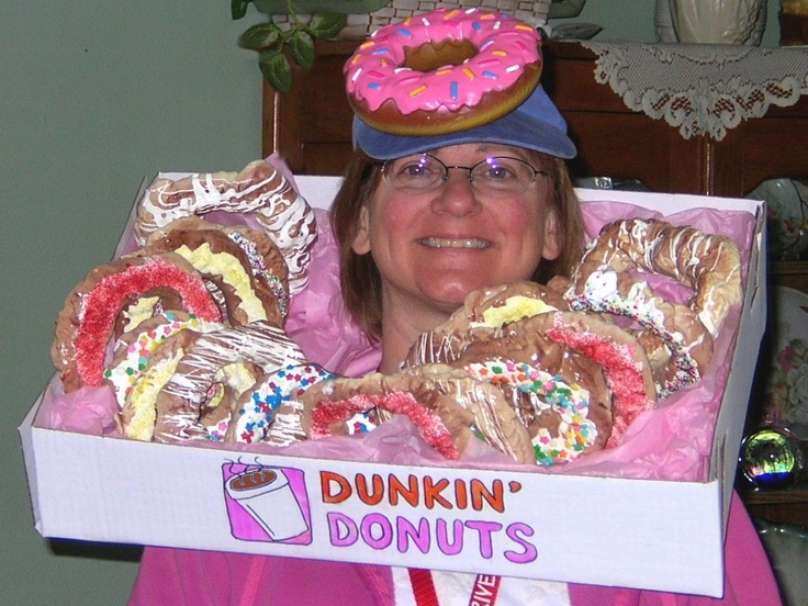 Dunkinu0027 Donuts Costume ~ Use Spray insulation to make round donuts use paint for frosting u0026 add sprinkles! OR USE REAL DONUTS! I have the dog toy on her ...  sc 1 st  Pinterest & 24 best halloween costumes images on Pinterest | Carnivals ...