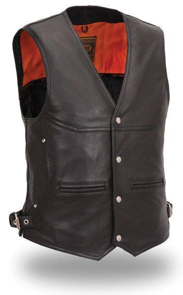 Mens Leather Vest Black First Manufacturing Solid 6 Pocket Naked Vest FIM625NKD