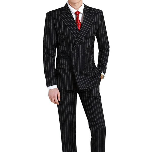 Black pinstripe suit tailored to your exact measurements.