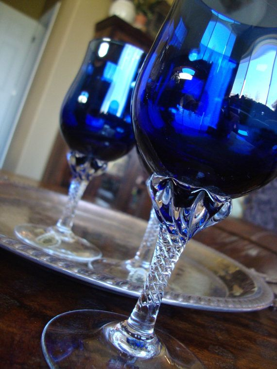 celebrity crystal wine glass cobalt blue set of three tycaalak
