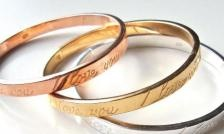 $15 for 1 or $ 35 for a Set of 3 Engraved Love Bangles in Gold, Silver and Rose Gold