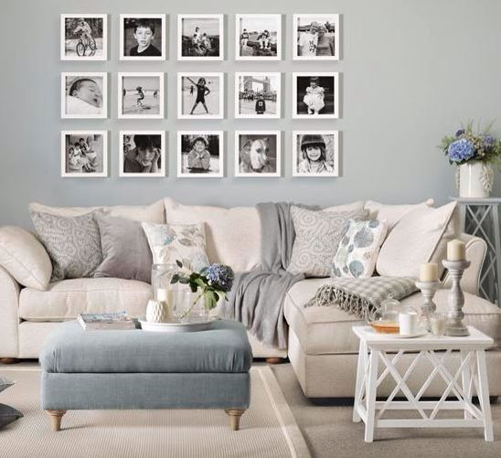 Ideal home magazine - I like the cushions and colour scheme... but not necessarily the picture collage - looks to blocked