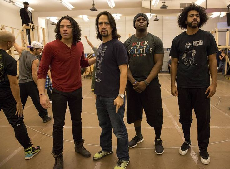 "How 'Hamilton' Found Its Groove Lin-Manuel Miranda packed everything he knows about history, hip-hop, and musical theatre into his new hit show. No wonder 'Hamilton' is changing everything. --- Anthony Ramos, Lin-Manuel Miranda, Okieriete Onaodowan, and Daveed Diggs in rehearsal for the Public Theatre production of ""Hamilton"" at New 42 Studios. (Photo by Joan Marcus)"