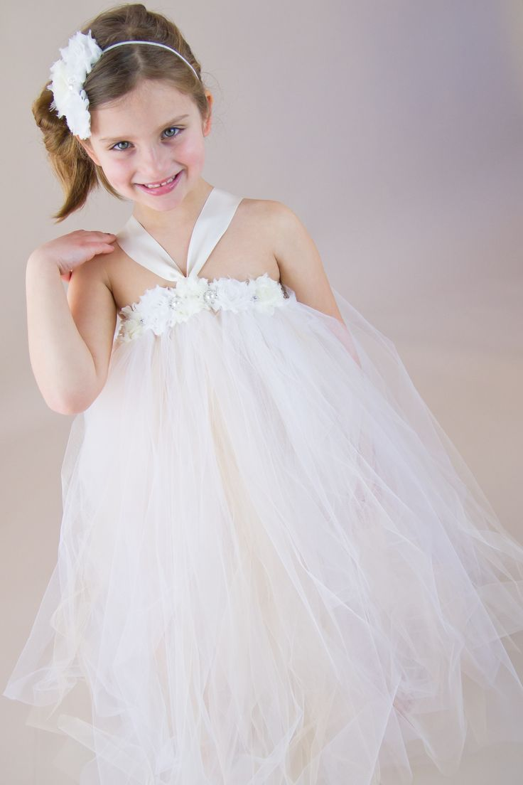 Flower girl dress with shabby chic flowers, sparkle, white, ivory, champagne tulle, satin ribbon tie.