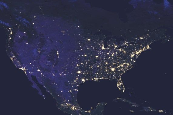 Usa At Night Satellite Map Map Satellite Map Map Art Etsy Earth At Night Light Pollution Earth Map