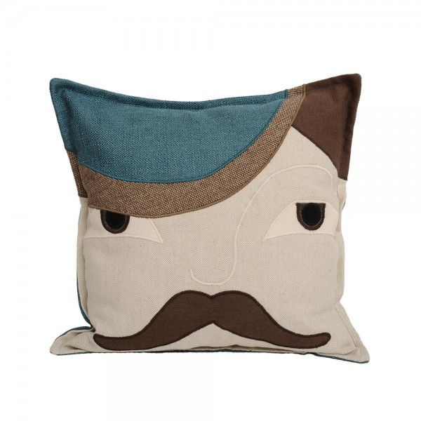 MR HIM BROWN AND BLUE. Composition: textile collage: linen, velvet, cotton. Dimensions: width: 40 cm, height: 40 cm. Irina Neacsu Studio. Art. Design. Architecture. Mr. Him. Brown. Blue. Cotton. Cushion. Linen. Velvet. Brasov. Romania.