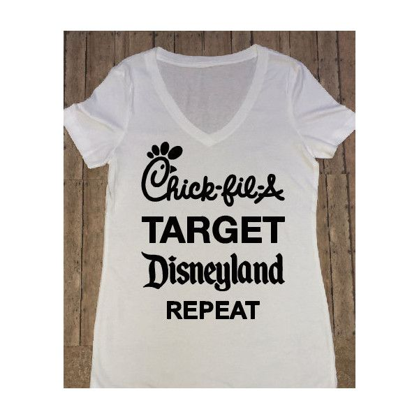 Chik-Fil-a Target Disneyland Repeat Shirt Disney Shirt Women's Disney... ($20) ❤ liked on Polyvore featuring tops, t-shirts, grey, women's clothing, grey v neck t shirt, grey t shirt, v neck t shirts, gray t shirt and gray v neck t shirt