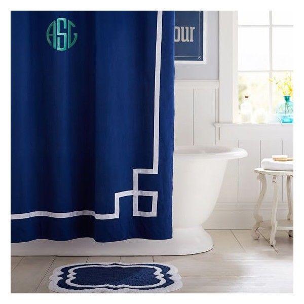 PB Teen Emma Ribbon Trim Shower Curtain  Royal Navy at Pottery Barn Viac ako 25  plne najlep ch n padov na t mu Navy blue shower  . Navy And Yellow Shower Curtain. Home Design Ideas