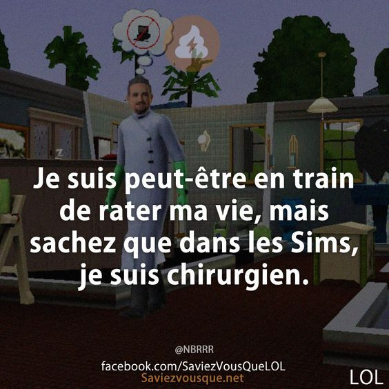 Je suis peut-être en train de rater ma vie, mais sachez que dans les Sims, je suis chirurgien.   Saviez-vous que ?