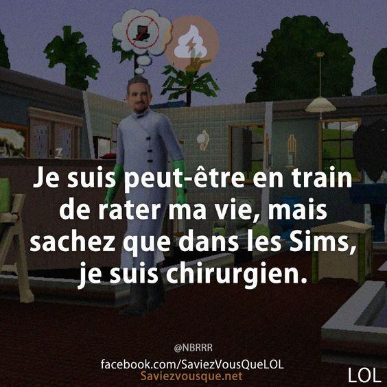Je suis peut-être en train de rater ma vie, mais sachez que dans les Sims, je suis chirurgien. | Saviez-vous que ?