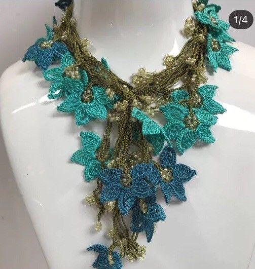 blue turquoisenecklace, turkish oya,crochet lace necklace, designer,boho,vintage    eBay