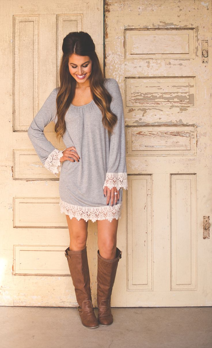 Dottie Couture Boutique - Crochet Sleeve Tunic- Grey, $39.00 (http://www.dottiecouture.com/crochet-sleeve-tunic-grey/)