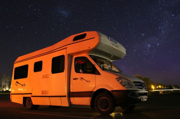 Stargazing at Lake Tekapo. Nathan Steyns took this photograph while travelling the South Island on his Euro Camper Eco Familia. The area around Lake Tekapo offers one of the best views to stargaze as their is almost no light pollution.
