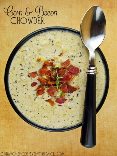 Corn And Bacon Chowder With Bacon, Onions, Celery, Garlic, Black Pepper, Kosher Salt, Dried Thyme, Bay Leaf, Corn, Potatoes, Vegetable Broth, Heavy Cream