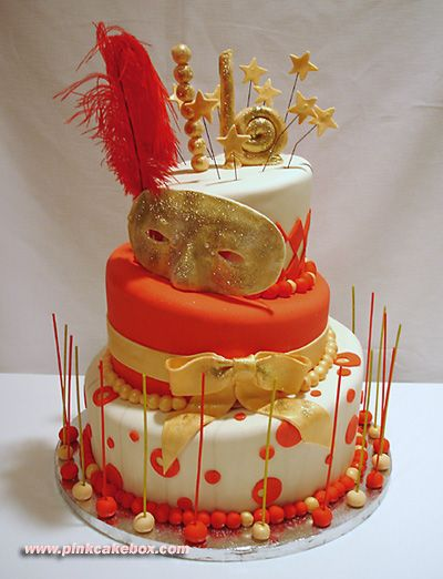 Masked 16th birthday cake, that would be a really cool party idea