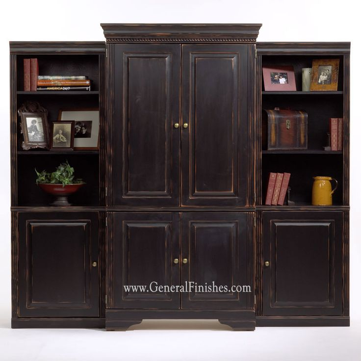 Materials Distressed And Glazed: Unfinished Entertainment Armoire Painted With Lamp Black