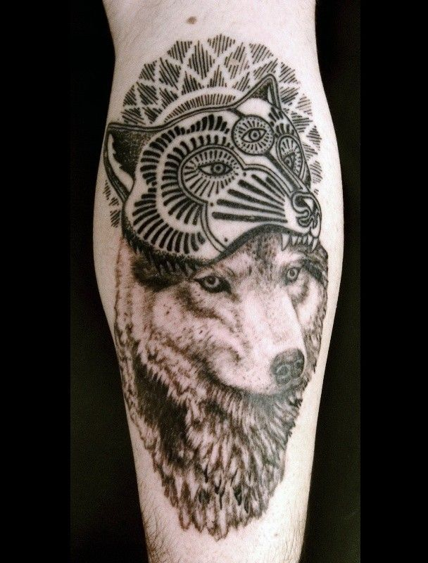 Realistic wolf and wolf mask patchwork tattoo