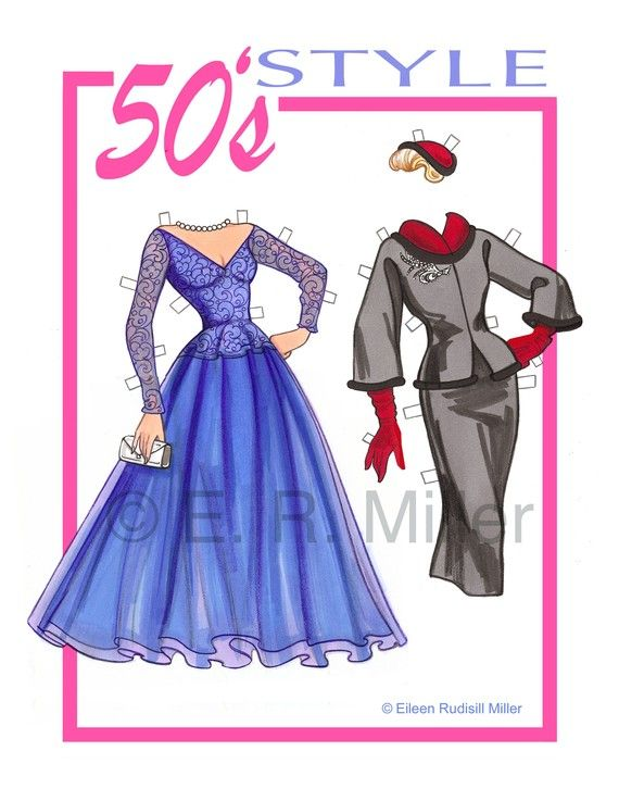 bambola di carta moda stile anni ' 50