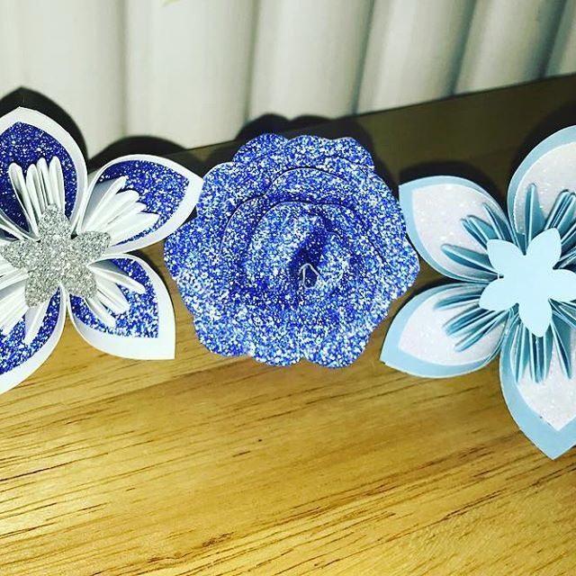 Samples for a baby boys christening, left, right or middle?! #flowers #baby #boy #christening #babyboy #babyflower #paper #paperflowers #foreverpaperflowers #glitter #sparkle #rose #alternative #unique #decorations #handmade #handmadeisbetter #worldwideshipping #bouquet