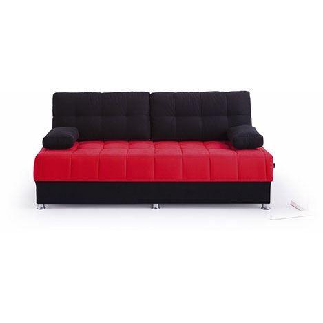 Futon Akçay 3'lü Kanepe - Siyah / Kırmızı
