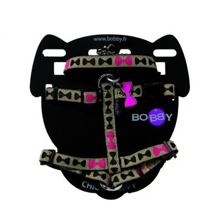 ARNÉS Y CORREA CACHORRO GIRL, pack de arnés y correa para cachorro o perros pequeño. Estampado de pajaritas rosas.http://bit.ly/1k1WyTK
