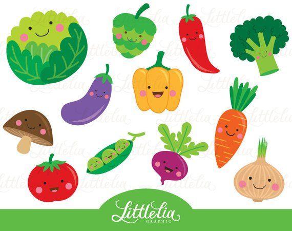 Cute Vegetable Clipart Veggie Clipart 15063 Etsy In 2021 Clip Art Vegetable Cartoon Art For Kids