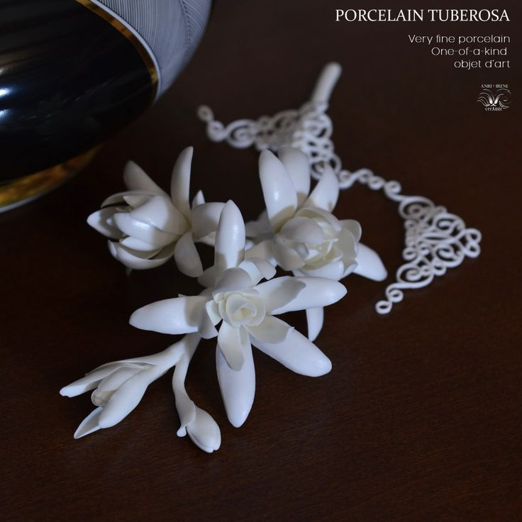 White porcelain flower. Ceramic flowers. Porcelain tuberosa, ceramic floral. White ceramic.