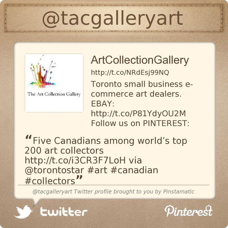 @The Art Collection Gallery's Twitter profile courtesy of @Pinstamatic (http://pinstamatic.com)