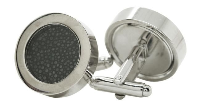 Rhodium Stingray Black Cufflinks