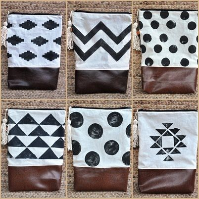Clutches with hand printed geometry