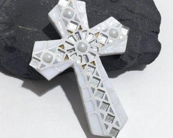 White Wall Cross - Godchild Gift - Baptism Gift - Mosaic Cross - Decorative Cross - Confirmation Gift - Baptism Cross - Personalized Cross