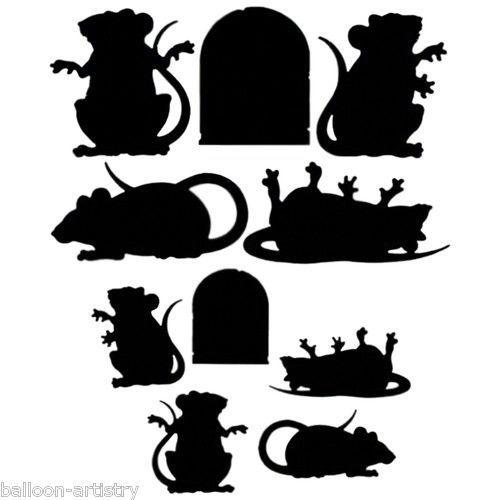 10 Halloween Horror Black Rat Rodent Silhouette Cutouts