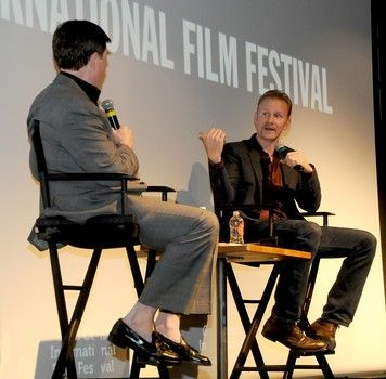 Morgan Spurlock, award winning writer, director and producer, discusses filmmaking and his new film 'Crafted,' Bill McCuddy during  a Gold Coast International Film Festival event at LIU-Post, Long Island.