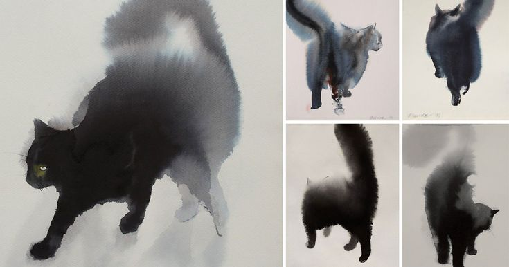 Serbian artist Endre Penovác renders fluffy felines with stark black watercolors and ink. Penovác heavily dilutes the pigments with water creating small rivers and splotches that perfectly mimic the texture of fur. You can see more of these on his website and over on Miss Moss. Upda