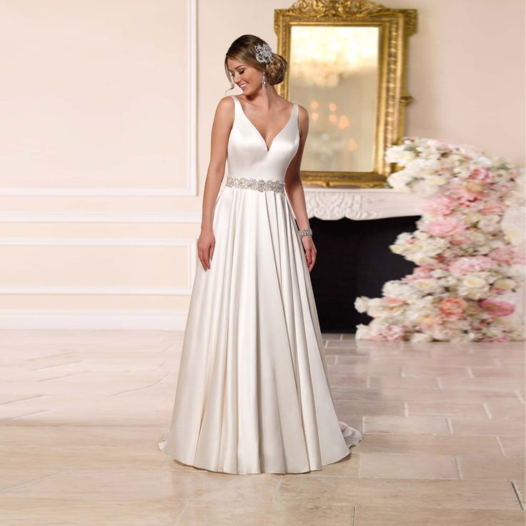 >> Click to Buy << Gorgeous Gown V Neck Sleeveless Sexy Backless Satin A-line Wedding Dresses 2016 Crystal Beading #Affiliate