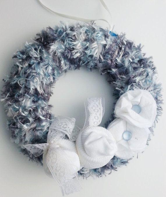 Baby boy wreath, baby blue, sock roses, baby socks, baby and nursery, baby…