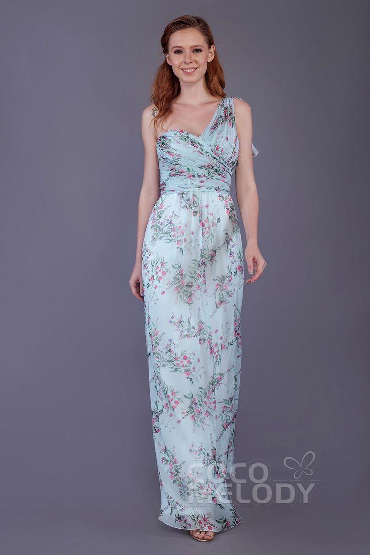 Modern Sheath-Column One Shoulder Natural Floor Length Printed Chiffon Sleeveless Zipper Bridesmaid Dress with Pleating #PR3509 #bridesmaids #bridesmaiddress #customdress #cocomelody #printeddress
