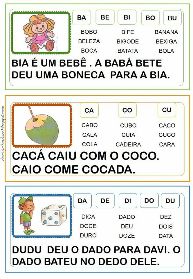 Fichas De Leitura Com Frases Fichas Ilustradas Com Palavras