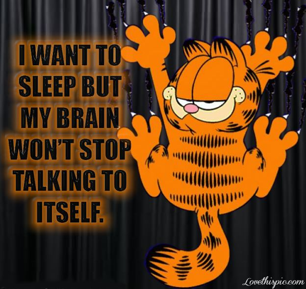 I want to sleep but my brain life quotes funny quotes cute quote cartoons garfield funny quote funny quotes curtains