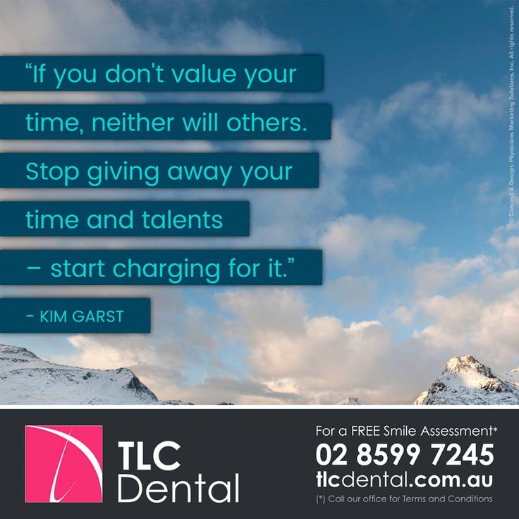 "#QuoteOfTheWeek – ""If you don't value your time, neither will others. Stop giving away your time and talents – start charging for it."" —Kim Garst / For a Free Smile Assessment*, please call 02 8599 7245 - www.tlcdental.com.au / (*) Please call our office for Terms & Conditions. #SmileDocs #SmileDeals #drhoffenberg #tlcdental #australia #dental #practice #cosmetic #job #tmj #dentistry #invisalign #whitening #filler #care #dentist #porcelain #crowns #veneers #implant #clearbraces #teeth"