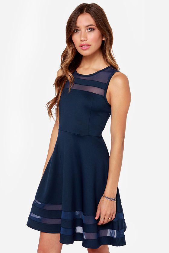 5212ae3515a1d Final Stretch Navy Blue Dress at Lulus.com!