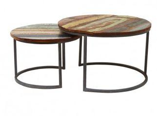 Deze hippe salontafel set Jimmi is een aanwinst voor je interieur. Leuk als bijzettafel- of salontafel set. De pootjes zijn van zwart metaal en het blad van vintage gekleurd mango hout.  Afmeting: 48x75x75cm en 40x60x60cm (hxbxd)