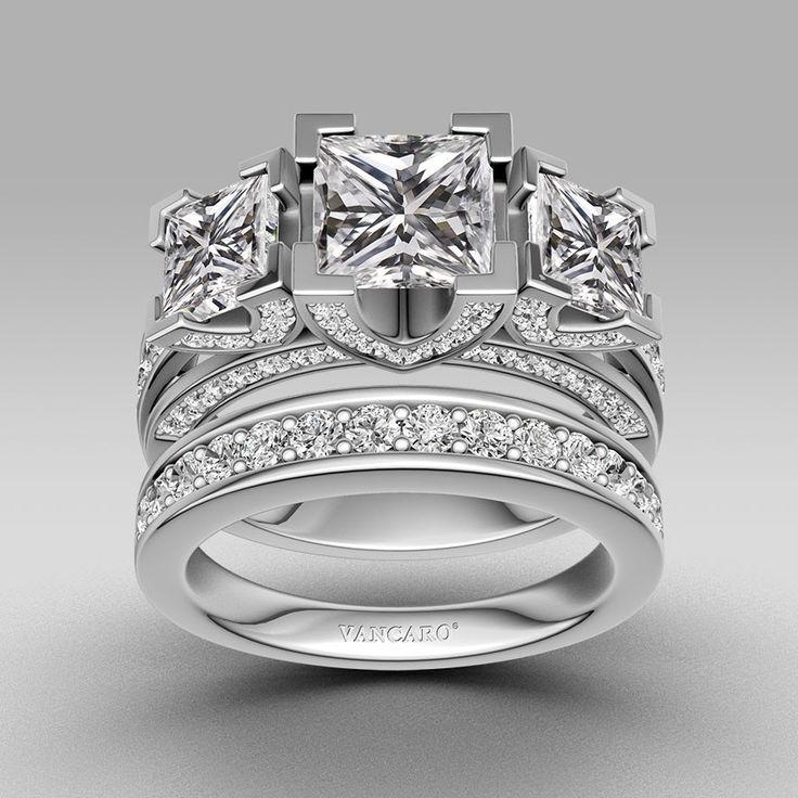 Princess Cut 925 Sterling Silver Women's Three-stone