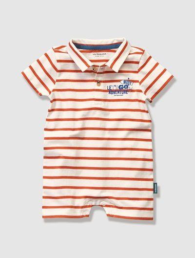Baby Boy's Short All-in-One Blue stripe+Grey marl+Red stripe