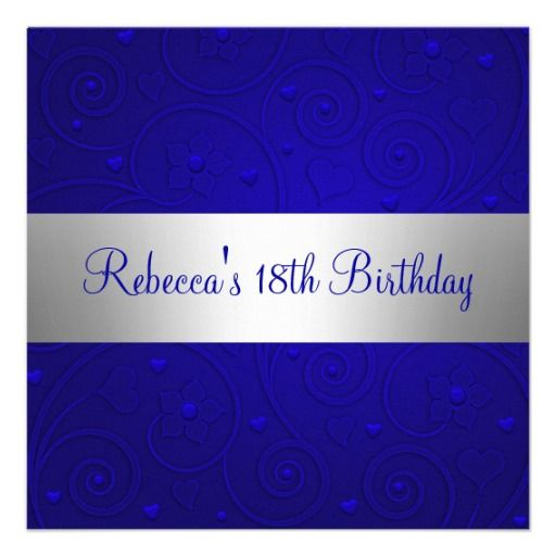 The 22 best 18th birthday party invitations images on pinterest blue spiral hearts silver 18th birthday party invitation stopboris Images