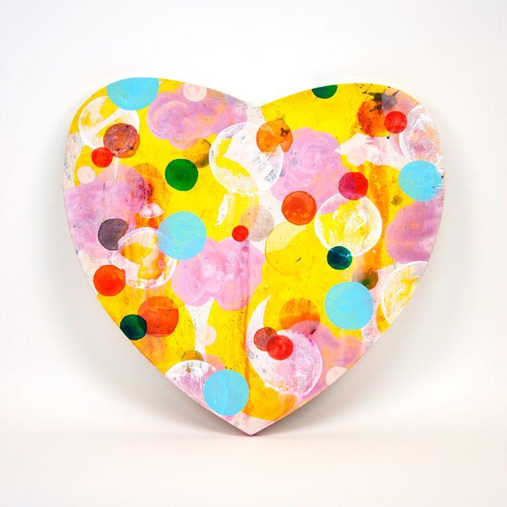 Heart, 2016, painting on woodenpanel 44x41cm - Dennis Happé
