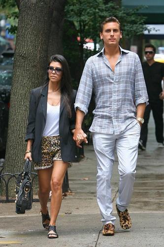 Kourtney Kardashian and Scott Disick matching shorts and shoes